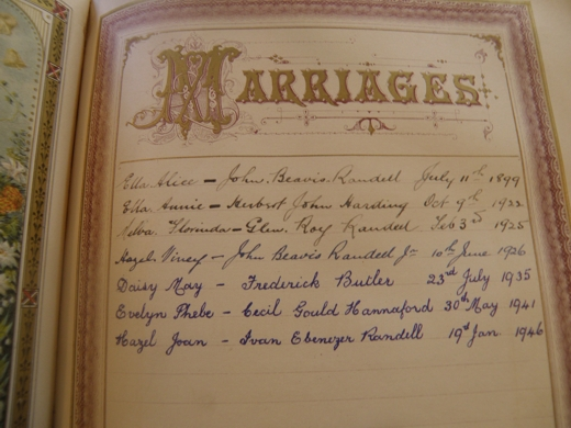 the Marriage entries