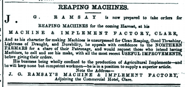 advert in the Norther Argus, 27 August 1869